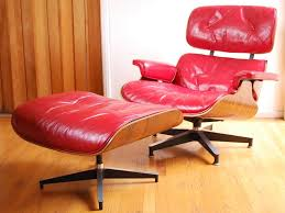 ottomans awesome red leather eames lounge teakhound together