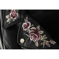 motorcycle outerwear women pu leather jacket floral embroidery biker motorcycle