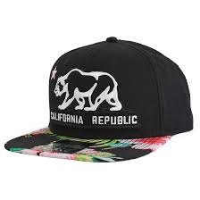 floral snapback california republic flag flat bill snapback hat tropical