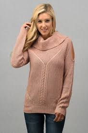 open shoulder sweater wide mock neck open shoulder sweater in pink lemora