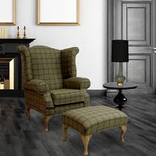 High Back Wing Armchairs Chesterfield Edward Queen Anne Wool Tweed Althrop Topaz Wing Chair