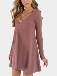 rust crossed design v neck long sleeves mini dress us 11 99 yoins