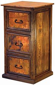 Oak Filing Cabinet 3 Drawer Rustic Furniture Mexican Copper Inlaid 3 Drawer File Cabinet