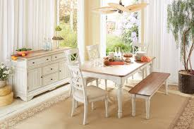White Dining Room Buffet Cottage Farmhouse Distressed White Natural Solid Buffet
