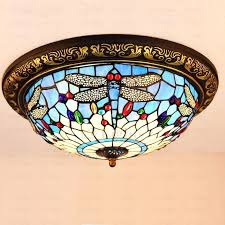 Dragonfly Light Fixture Light Stained Glass Ceiling Light