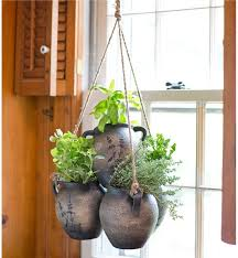 herb garden planter hanging clay herb planter kit wind weather