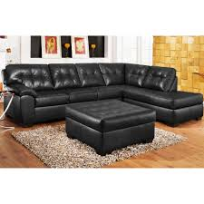 Soho Sectional Sofa 3pc Black Leather Sectional Sofa Chaise Ottoman Set Create