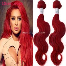 glamorous 3 bundles red remy hair bundles straight body wave