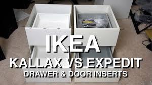 ikea kallax vs expedit shelf insert comparison youtube