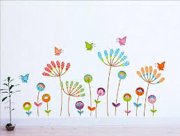 Cartoon Colorful Flower Butterfly Wall Stickers Home Decor Kids - Butterfly kids room