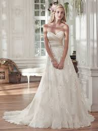 satin sweetheart neckline a line wedding dresses with lace