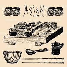 jeu de cuisine sushi de vecteur dessiné illustration menu asiatique jeu de