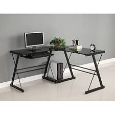 walker edison corner computer desk amazon com walker edison soreno 3 piece corner desk black with