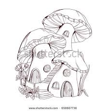 coloring book mushroom houses fairy tale stock vector 586304171