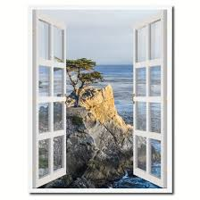 monterey beach view picture french window canvas print with frame
