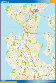 Seattle Topographic Map by Seattle Wall Map Netmaps Usa Wall Maps Shop Online