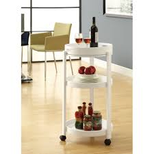 attractive white wooden round bar cart with triple trays in open