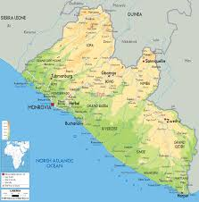 Map Of Africa Physical by Large Physical Map Of Liberia With Roads Cities And Airports
