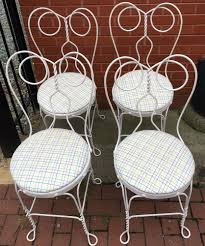 Wicker Outdoor Furniture Ebay by Set Of 4 Vintage White Twisted Metal Ice Cream Parlor Chairs