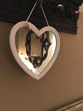 shabby chic large white heart vintage wooden mirror gift hallway