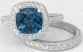 engagement rings london cushion cut london blue topaz diamond engagement ring and matching