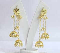 jhumka earrings jadau gold rhinestones jhumka jhumki earrings indian india