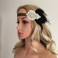 flapper headbands 1920s great gatsby black feather pearls fascinator headpiece