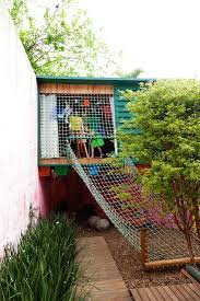 ladder to backyard fort at the home of cris rosenbaum