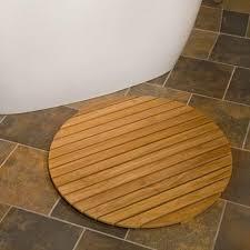 bathroom beautiful teak shower mat in round wood for teak floor