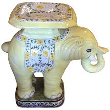 elephant vintage terra cotta yellow floral garden stand stool