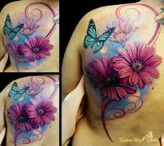 amazing butterfly and flower thigh tattoos design idea