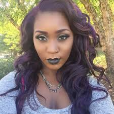 kat naked purple hair black girl dark skinned eggplant hair kat von d