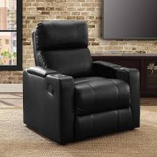 mainstays home theater recliner with convenient in arm storage