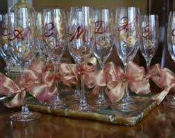 wine glass party favor decorative initial monogram gold and burgundy celebration