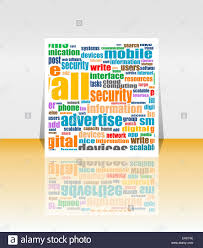 social media marketing word cloud flyer or cover design stock