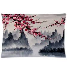 gift cherry blossom tree design painting pillowcase 20x30