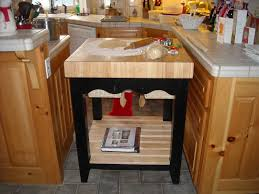 square shaped portable island for small kitchen on graphic tile