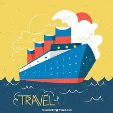 ship in a ship in a vintage style illustration vector free
