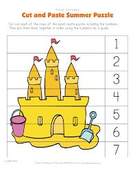 summer cut and paste puzzle preschool jump smart gymnastics