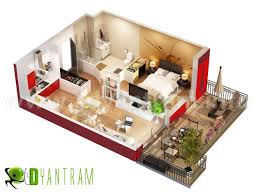 3d home floor plan residential visualization concept boston usa