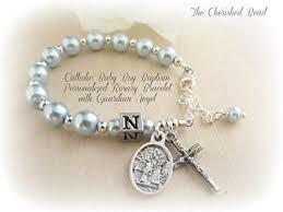 baby rosary bracelet personalized catholic baby boy baptism light blue