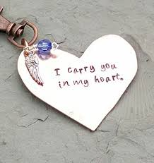 remembrance keychain i carry you in my heart copper sted