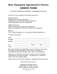 noncompete agreement forms and templates fillable u0026 printable