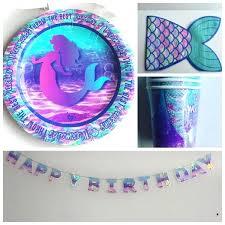 mermaid party supplies mermaid plates and napkins image of mermaid party supplies plates