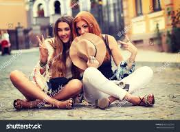 outdoor lifestyle portrait two best friends stock photo 361523318