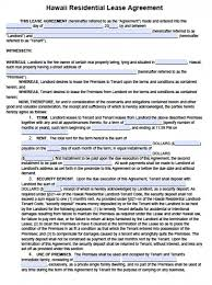 free hawaii residential lease agreement pdf word doc