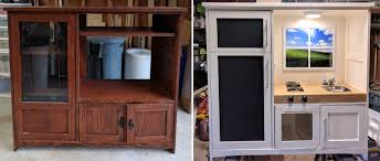 made a play kitchen from re purposed entertainment center 37