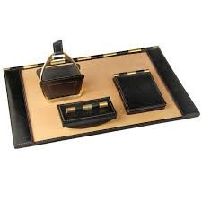 Modern Desk Set Leather And Brass Desk Set From A Unique Collection Of