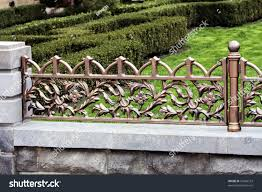 Decorative Fencing Modern Forged Decorative Fence Element Casting Stock Photo