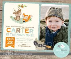 woodland birthday party invitation boy by littlebirdieprints